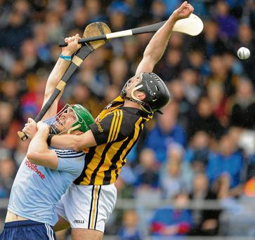 Kilkenny's JJ Delaney gets on top of Dublin's Ryan O'Dwyer during last year's one-sided Leinster SHC semi-final.