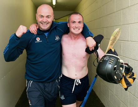 Dublin manager Anthony Daly and David O'Callaghan celebrate their win over Kilkenny