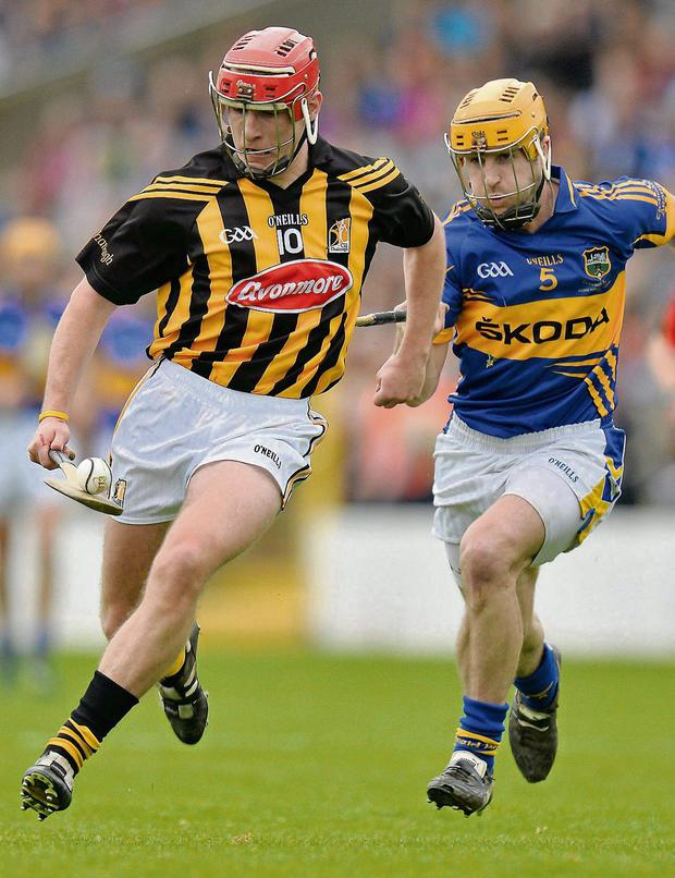 Cillian Buckley gets away from Kieran Bergin during the NHL final in which Tipperary came up short against Kilkenny in Nowlan Park