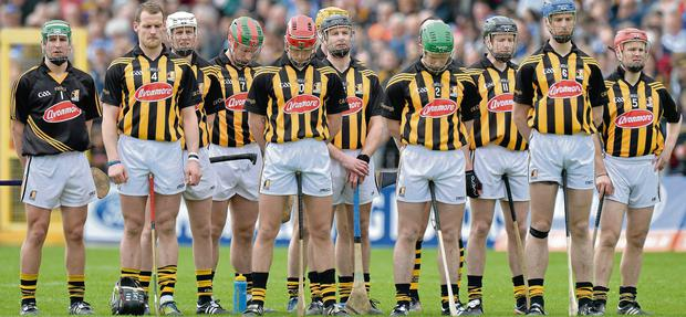 Kilkenny players stand for a minute's silence prior to the NHL final clash against Tipperary in Nowlan Park