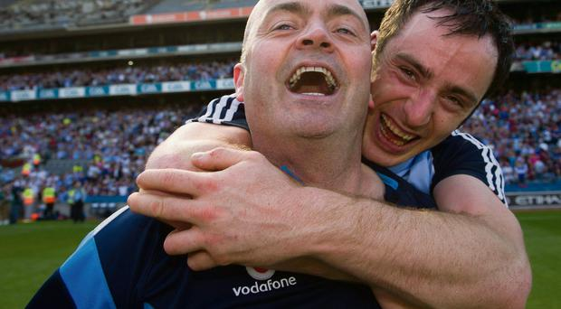 Dublin manager Anthony Daly celebrates with Ryan O'Dwyer after winning the Leinster SHC title