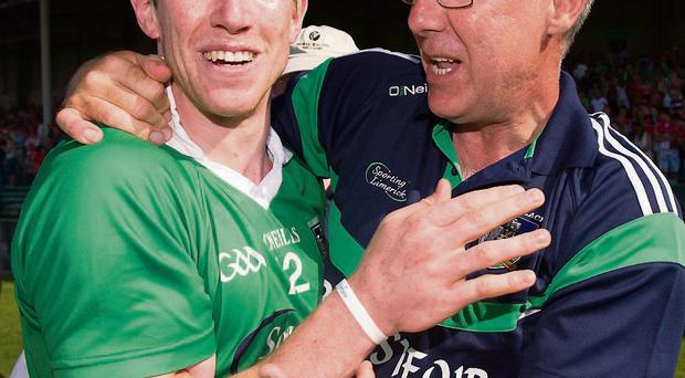 Seamus Hickey and Limerick manager John Allen celebrate at the final whistle