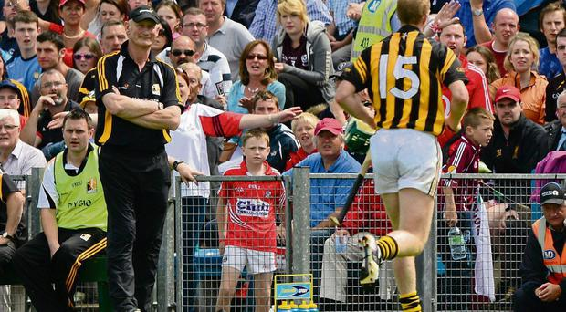 Henry Shefflin goes past Kilkenny manger Brian Cody after being sent off on Sunday - both their futures are now the subject of much speculation