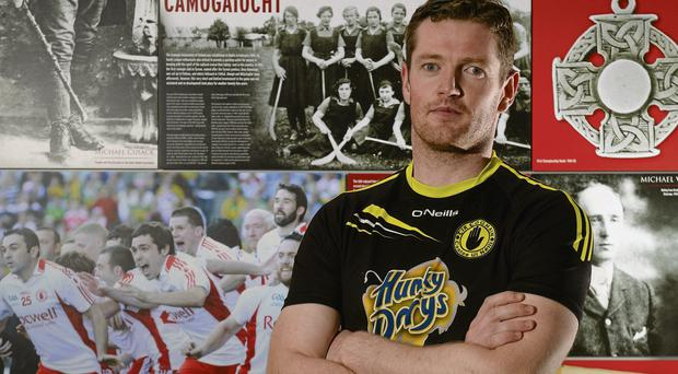 Tyrone's Pascal McConnell during a press event ahead of their GAA Football All-Ireland Senior Championship Semi-Final against Mayo on Sunday