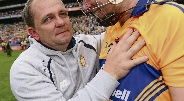 Clare manager Davy Fitzgerald celerates with Fergal Lynch after the semi-final