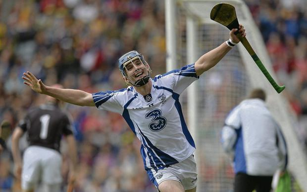 Patrick Curran, Wsterford, celebrates after scoring his side's goal during the Electric Ireland All-Ireland MHC Final