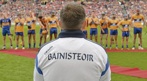 Clare manager Davy Fitzgerald watches his players before the start of yesterday's All-Ireland SHC final - whoever wins the replay won't care about what time the game is played