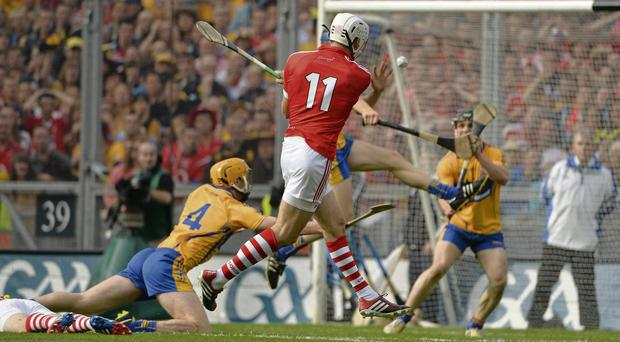 Pa Cronin's strike whistles towards the top corner of the net moments before Cork's third goal