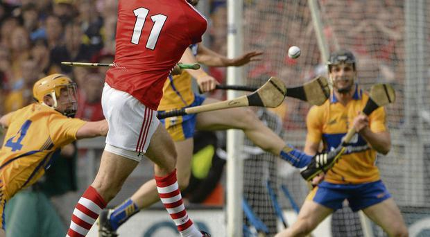 Pa Cronin scores Cork's third goal but needs to get closer to the action