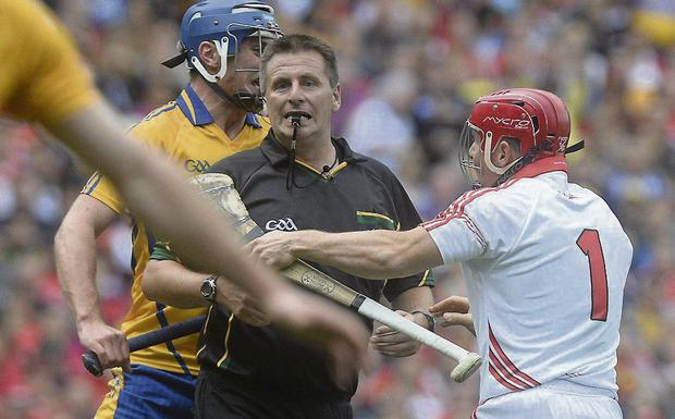 Cork's Anthony Nash protests to the referee Brian Gavin after his free was saved during last weekend's hurling final