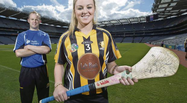 Kilkenny's Grace Walsh alongside her brother Tommy in Croke Park ahead of tomorrow's Liberty Insurance All-Ireland senior camogie final against Galway