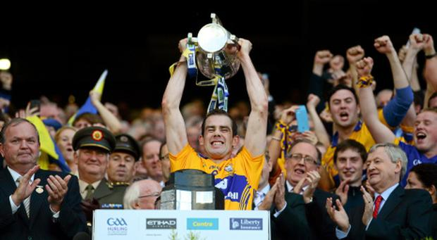 28 September 2013; Clare captain Patrick Donnellan lifts the Liam MacCarthy cup. GAA Hurling All-Ireland Senior Championship Final Replay, Cork v Clare, Croke Park, Dublin. Picture credit: Paul Mohan / SPORTSFILE