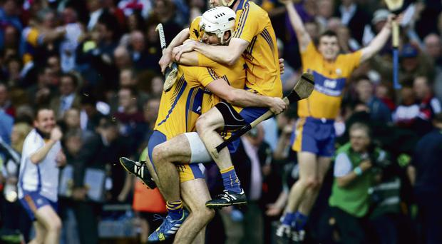 Cian Dillon, Patrick O'Connor, and Patrick Donellan are jubilant seconds after the final whistle was blown in Croke Park last night. Photo: Gerry Mooney