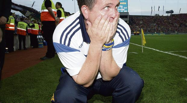 Clare manager Davy Fitzgerald celebrating after winning the GAA Hurling All-Ireland Senior Championship