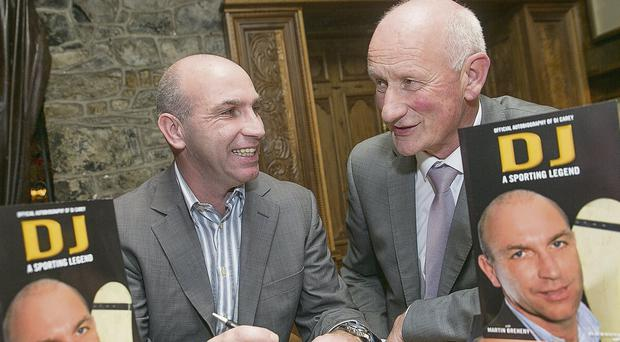 Kilkenny hurling legend DJ Carey was making sure that Kilkenny hurling manager Brian Cody was getting the first autographed copy as he launched his autobiography in Langtons Hotel in Kilkenny on Mnday evening