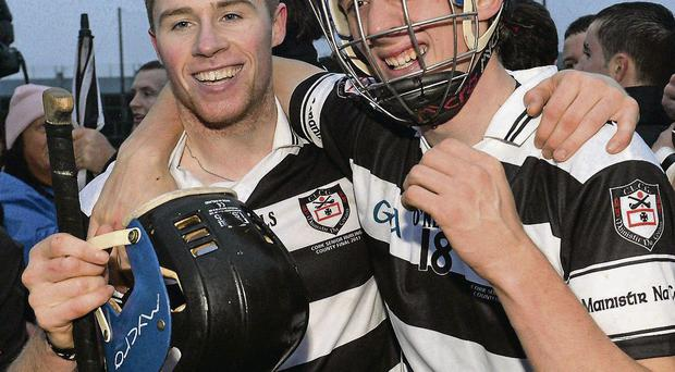 Midleton's Conor Lehane, left, and Cormac Walsh celebrate after victory over Sarsfields in the Cork County SHC Final DIARMUID GREENE / SPORTSFILE