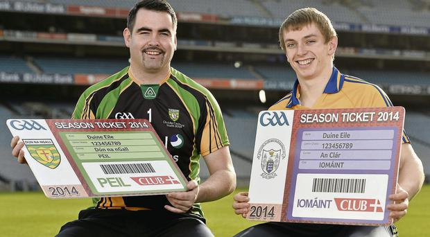 Paul Durcan and David McInerney at the launch of the GA A' s season ticket for 2014 at Croke Park yesterday
