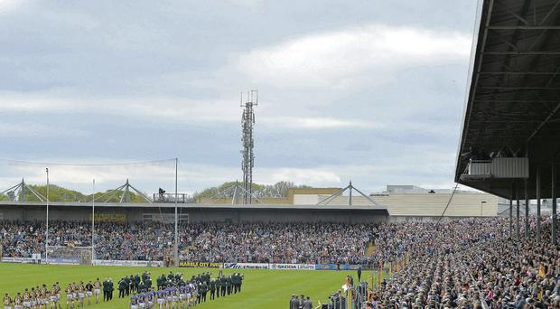 A bumper crowd in Nowlan Park watch the Kilkenny and Tipperary teams parade before this year's Allianz NHL final BRENDAN MORAN/SPORTSFILE