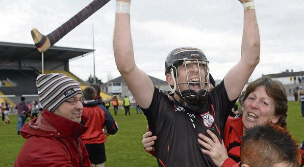 Richard Coady celebrates after Mount Leinster Rangers' historic Leinster club championship win last Sunday. Photo: Paul Mohan