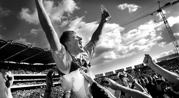 Brian Whelahan celebrates Offaly's 1998 Liam MacCarthy success - he's now back to manage them