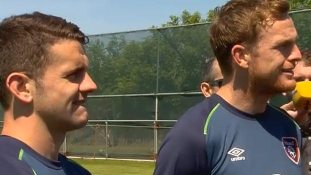 Robbie Brady and Alex Pearce react to the question