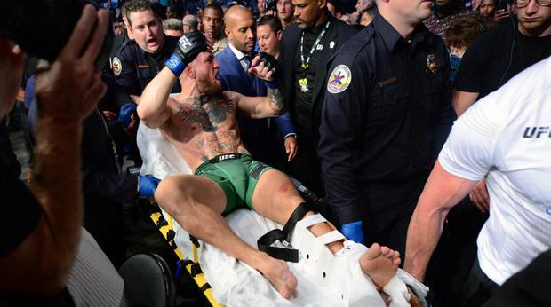 We didn't have a picture of McGregor driving a car, so here's a picture of him driving a stretcher