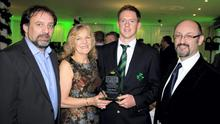 John Greene, Anne Harris, Craig Young, John Chambers at the Cricket Ireland awards