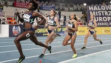 Nadia Power (third from left) en route to a third-place finish in the women's 800m final in Torun, Poland. Reuters/Aleksandra Szmigiel