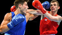 Adam Nolan (right) exchanges punches with Josh Kelly yesterday SPORTSFILE