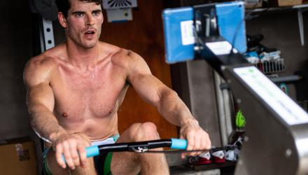 Olympic rower Philip Doyle training during lockdown last year. Photo: Sportsfile