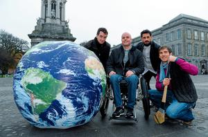In attendance at the World Sports Team launch are, from left, amateur jockey Patrick Mullins, adventure athlete Mark Pollock, former Kerry footballer Paul Galvin, and former Wexford hurler Diarmuid Lyng.