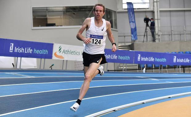John Travers of Donore Harriers competing in the Men's 1,500m during day two of the Elite Athlete Indoor Micro Meet at the Sport Ireland Campus in Dublin. (Photo: Sam Barnes/Sportsfile)