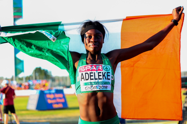 'On Saturday night Rhasidat Adeleke shocked herself and everyone else by obliterating her personal best in the girls' 200m final, flying to gold in 23.52.' Photo: Giancarlo Columbo/Sportsfile