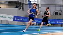 Cian McPhillips leads Mark English on the final lap in the Men's 800m at the Sport Ireland Campus. Photo: Sportsfile