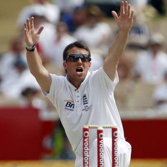 Graeme Swann appeals for the wicket of Marcus North during the final day of the second Ashes Test match in Adelaide.