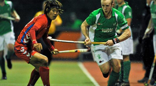 The absence of Eugene Magee, pictured in action for Ireland against Woo Hyun Nam, Korea, continues to be a worry
