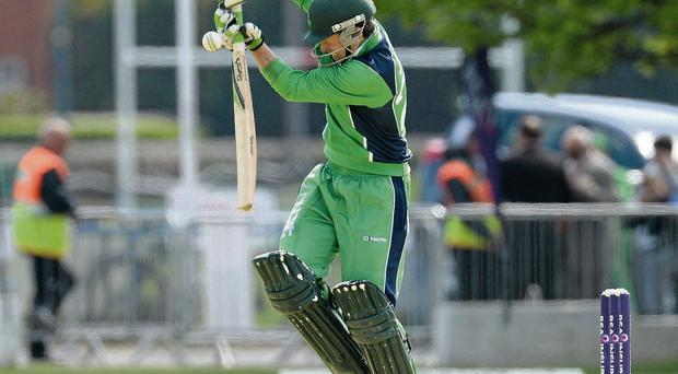 Ed Joyce bats against Pakistan yesterday