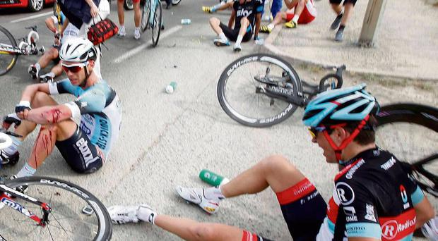Confusion reigns after a crash in yesterday's opening stage