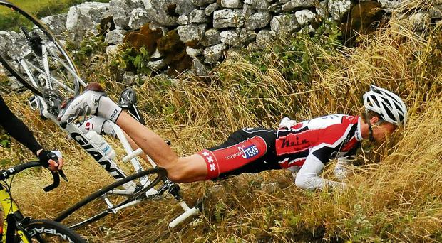 Laurens Schumacher takes a tumble onstage three on the Junior Tour of Ireland in Ennis. The stage was won by Eddie Dunbar