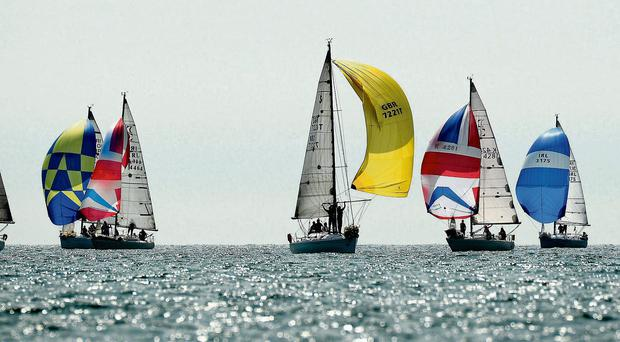 A general view of the boats competing in the Beneteau 31.7 Class in the Volvo Dun Laoghaire Regatta yesterday