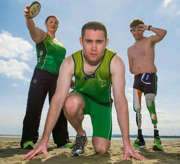Paralympic athletes Orla Barry, Jason Smyth and Darragh McDonald at yesterday's Paralympics Ireland-Allianz launch
