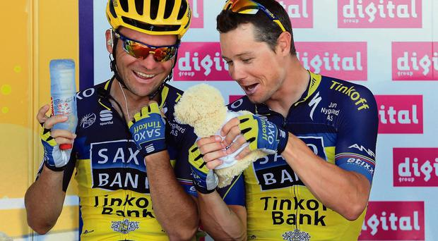 Nicholas Roche (right) alongside team-mate Sergio Paulinho before yesterday's stage