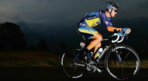 Nicholas Roche rides during yesterday's stage 17 of the Tour de France