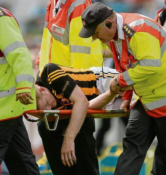 Kilkenny's Richie Power is stretchered off after suffering concussion in the All-Ireland SHC quarter-final against Cork this year
