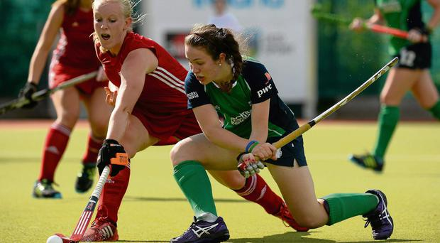 Emma Kernohan, Ireland, in action against Megan Lewis Williams, Wales
