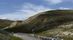 The peloton travels between Breckenridge and Steamboat Springs during Stage Three of the USA Pro Cycling Challenge last week