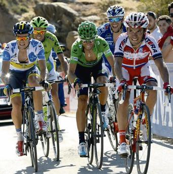 Nicolas Roche (left) in the King of the Mountains jersey alongside (left to right) Ivan Basso, Alejandro Valverde, Thibot Pinot and Joaquin Rodriguez in the closing stages of an earlier stage of the Vuelta a Espana