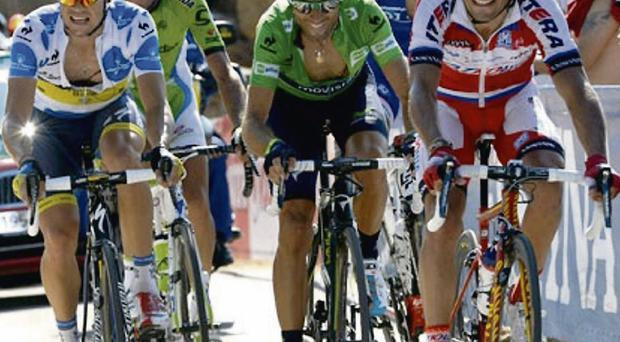 Nicolas Roche (left) in the King of the Mountains jersey alongside (left to right) Ivan Basso, Alejandro Valverde, Thibot Pinot and Joaquin Rodriguez in the closing stages of yesterday's stage of the Vuelta a Espana