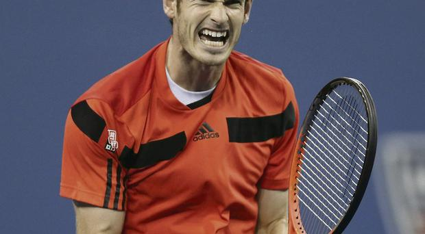Andy Murray celebrates after beating Denis Istomi