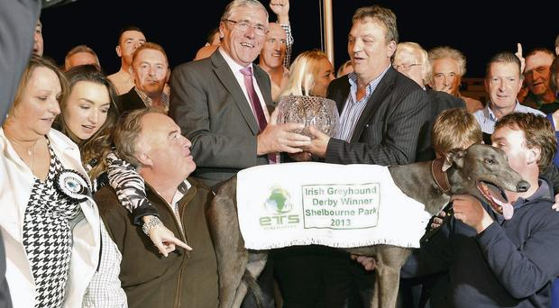 Junior Agriculture Minister Tom Hayes presents the trophy to owner Larry Dunne after Slippery Robert's victory in the ETS Renewables Irish Derby at Shelbourne Park